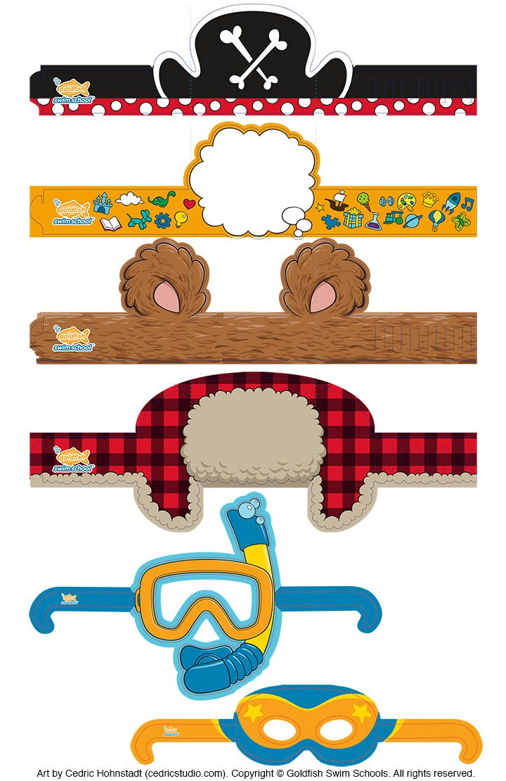 Children's headbands and glasses illustrated by Cedric Hohnstadt for Goldfish Swim Schools.