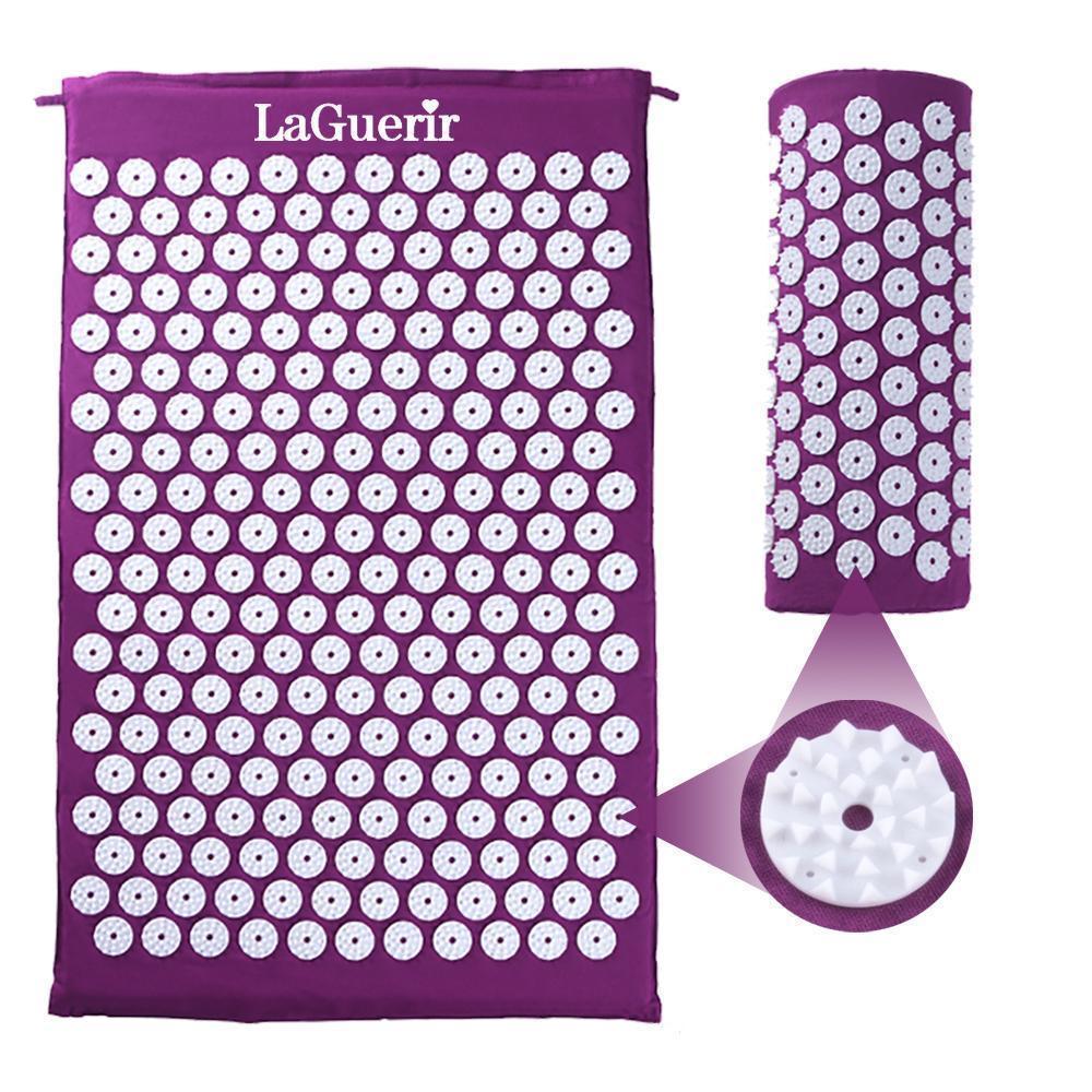Image contains a LaGuerir Acupressure Mat and Pillow Set