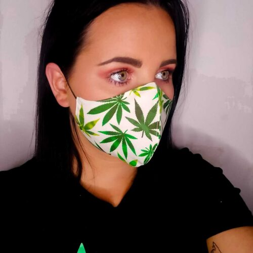 white and green cannabis mask 3