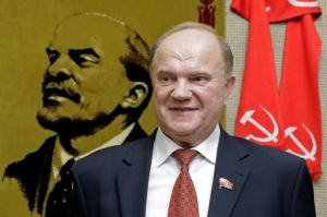 The Communist leader Gennadij Zjuganov; on the background characteristic view of Lenin Photo by: Reuters