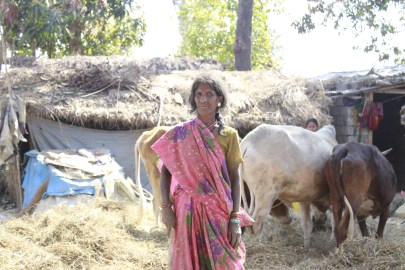 Woman with her domestic animal