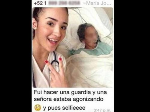 estudiante de medicina-enferma -selfies