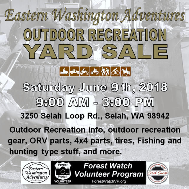 Eastern Washington Adventures Outdoor Recreation Yard Sale