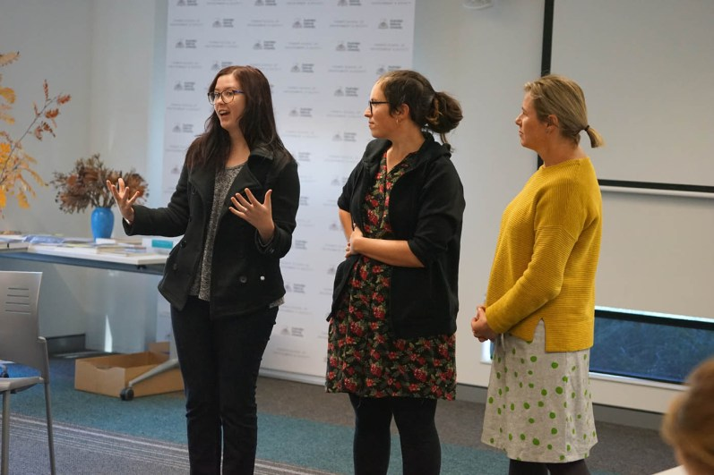 Tianna, Briohny and Marg pitch their Anthropocene exhibition