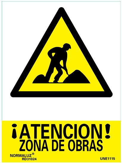 señal atencion zona de obras