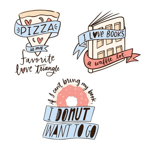 Illustrations of bookish food puns