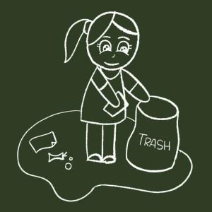 girl picking up trash