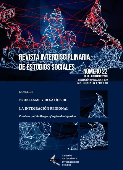 Tapa de revista número 22, Problemas y desafíos de la integración regional, mapa mundiál con lazos de intefgración, de fondo se ve partes de las banderas del MERCOSUR y la UE