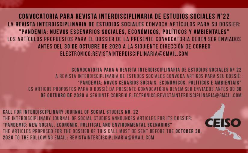30 OCT FECHA LÍMITE – REVISTA INTERDISCIPLINARIA DE ESTUDIOS SOCIALES