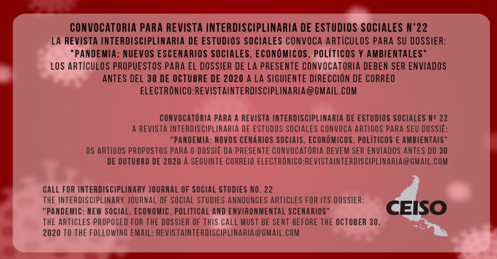 Convocatória para a REVISTA INTERDISCIPLINAR DE ESTUDOS SOCIAIS N° 22
