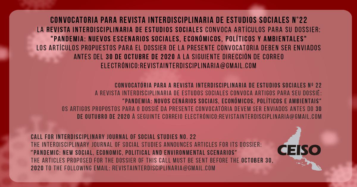 PRAZO 30 OUT – REVISTA INTERDISCIPLINAR DE ESTUDOS SOCIAIS