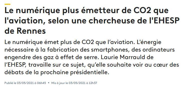 Le numérique plus émetteur de CO2 que laviation, selon une chercheuse de lEHESP de Rennes