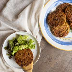 Galettes végétariennes aux lentilles, avoine et courgette