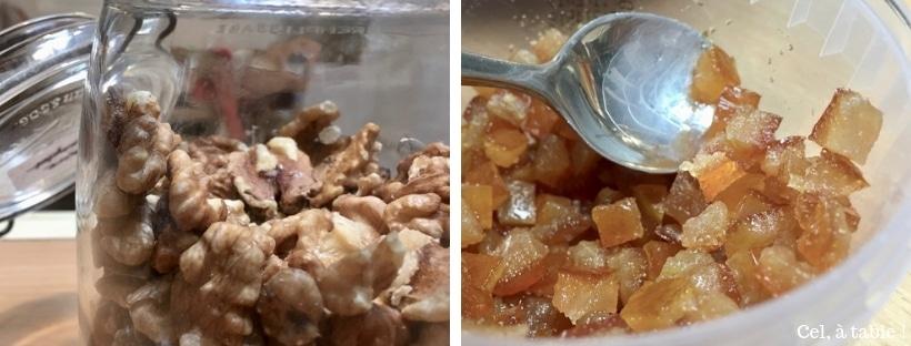 noix et écorces d'orange dans pain d'épices