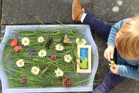 bac sensoriel de printemps autour des insectes