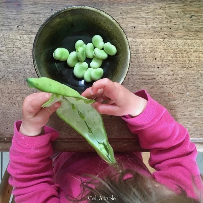 écosser fèves
