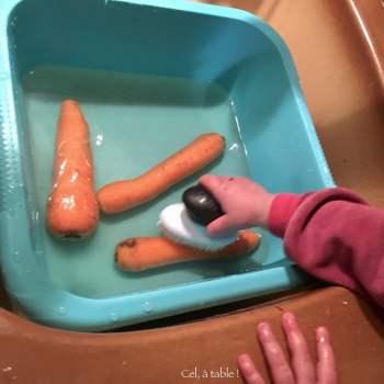 jeune enfant lavant des carottes