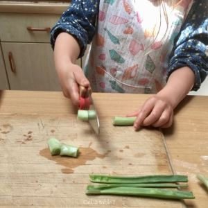 enfant qui coupe un oignon vert