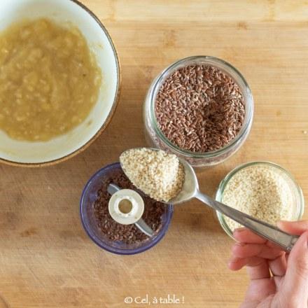 broyer les graines de lin et sésame