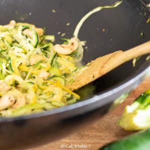 wok de spaghettis de courgettes