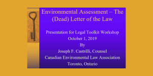 Environmental Assessment – The (Dead) Letter of the Law