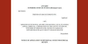Notice of Application to Divisional Court for Judicial Review (Friends of Simcoe Forest)