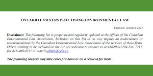 Lawyer Referral List – list of lawyers practicing environmental law in Ontario
