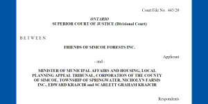 Friends of Simcoe Forest Application Record filed in Divisional Court