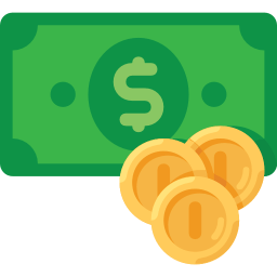 Icon of money, signifying a cost for web development.