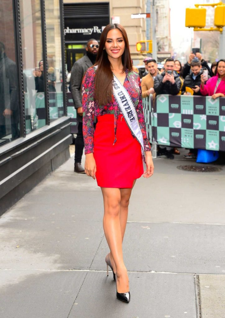 Catriona Gray in a Red Skirt Leaves AOL Build Studios in