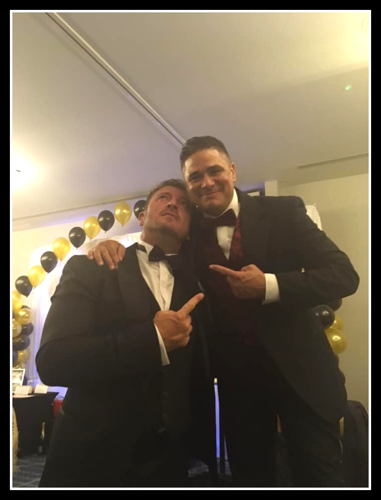 Celeb FC Manager Jason Burrill with Leroy Vickers (TreAmici - XFactor 2018)