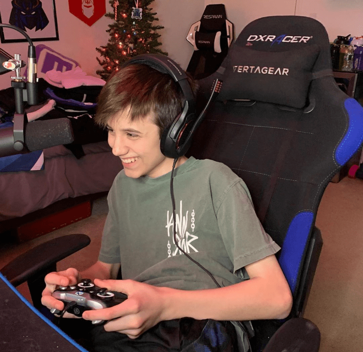 The professional Fortnite gamer having fun while playing.