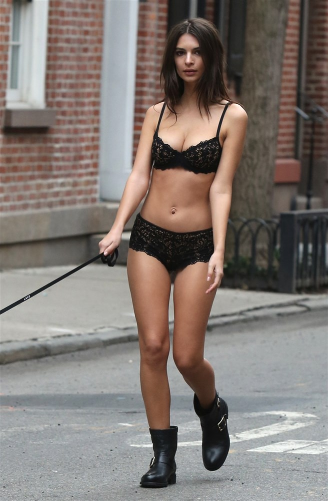 Emily Ratajkowski Caught Out In Lingerie Abusing A Dog