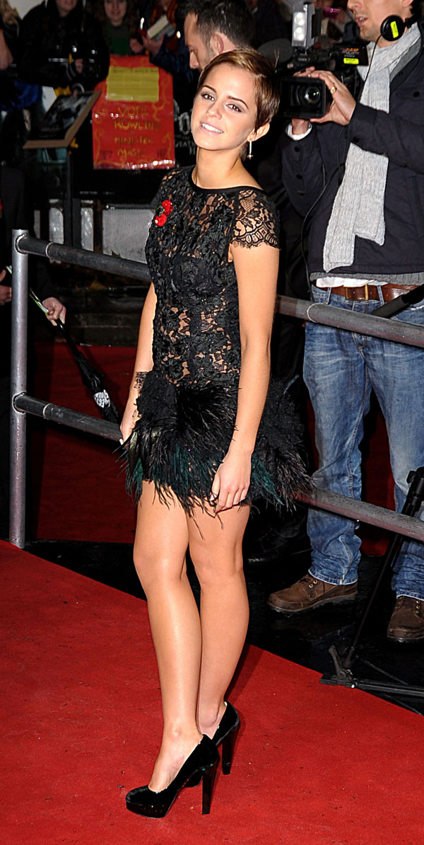 Emma Watson In See Through Top And Feathers