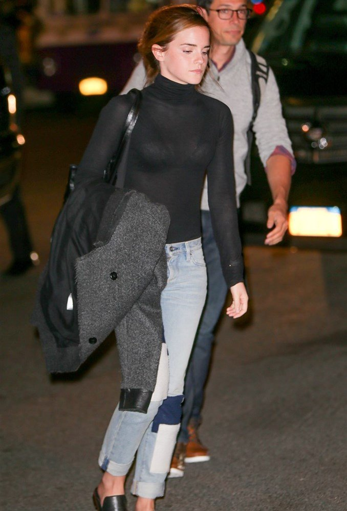 Emma Watson Shows Off Her Bra In A See Through Top