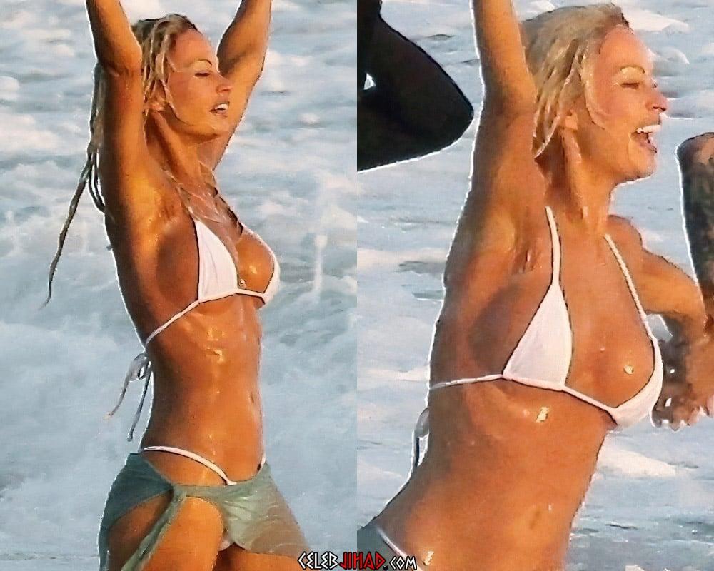 Lily James bikini boobs