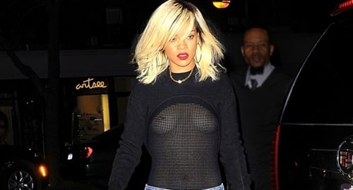 Rihanna Shows Her Tits In Mesh Top