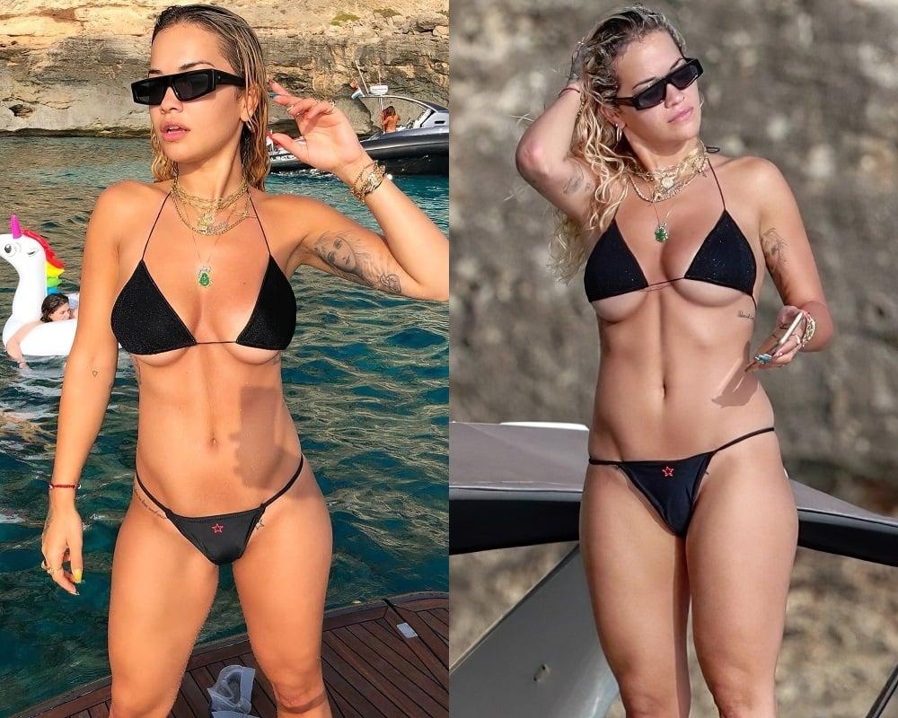 Rita Ora Ample Under Boob Bikini Pics