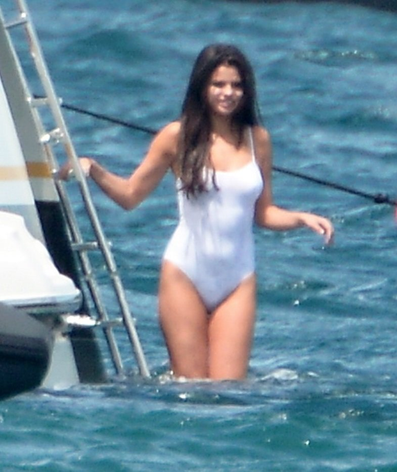 Selena Gomez On A Yacht In A Wet White Swimsuit