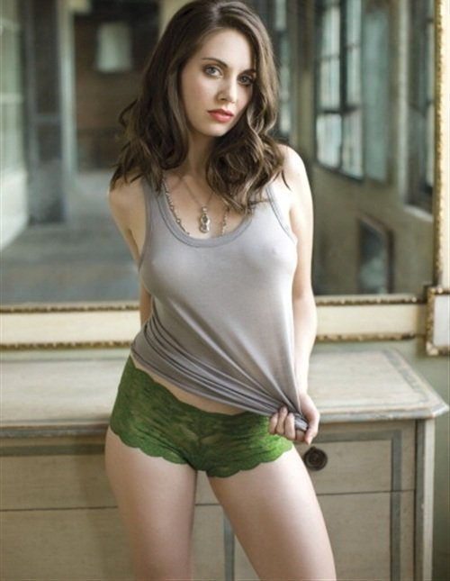 Alison Brie See Through Shirt And Panties In Outtake Pic