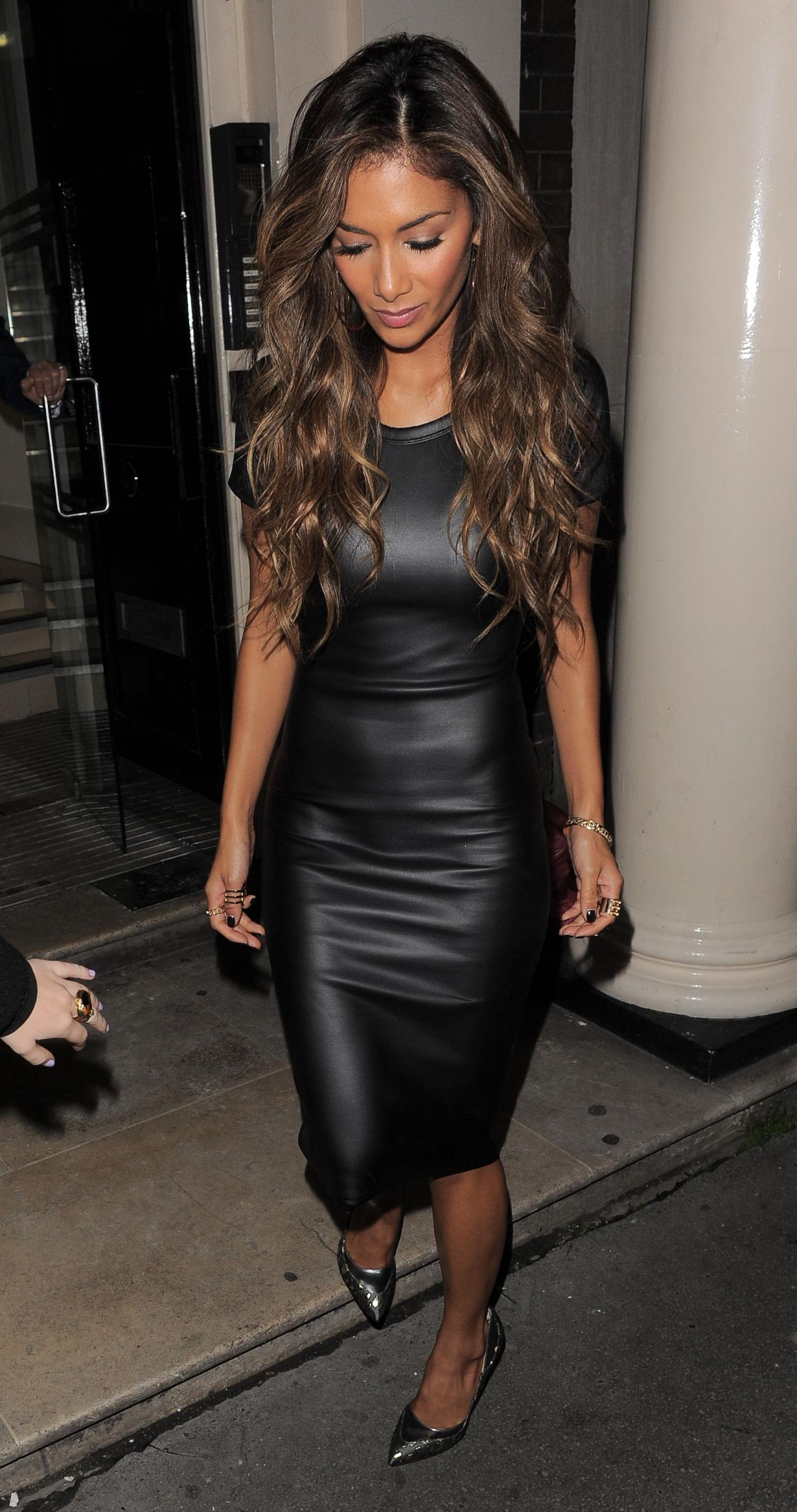 Nicole Scherzinger Street Style  in Leather Dress