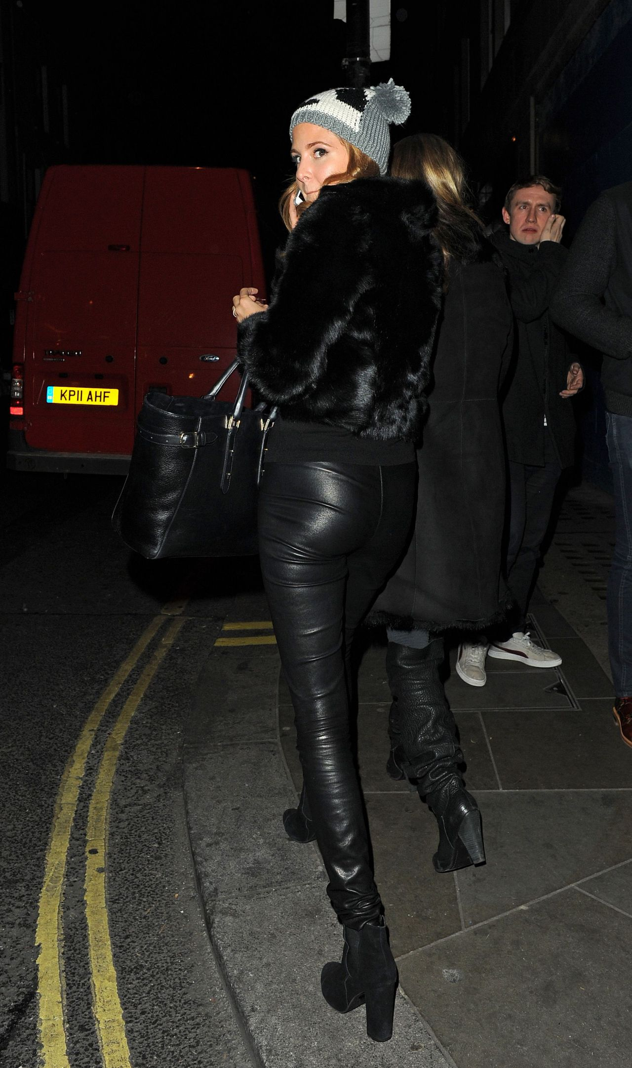 Millie Mackintosh Street Style  Out in Leather Pants in Chelsea  December 2013