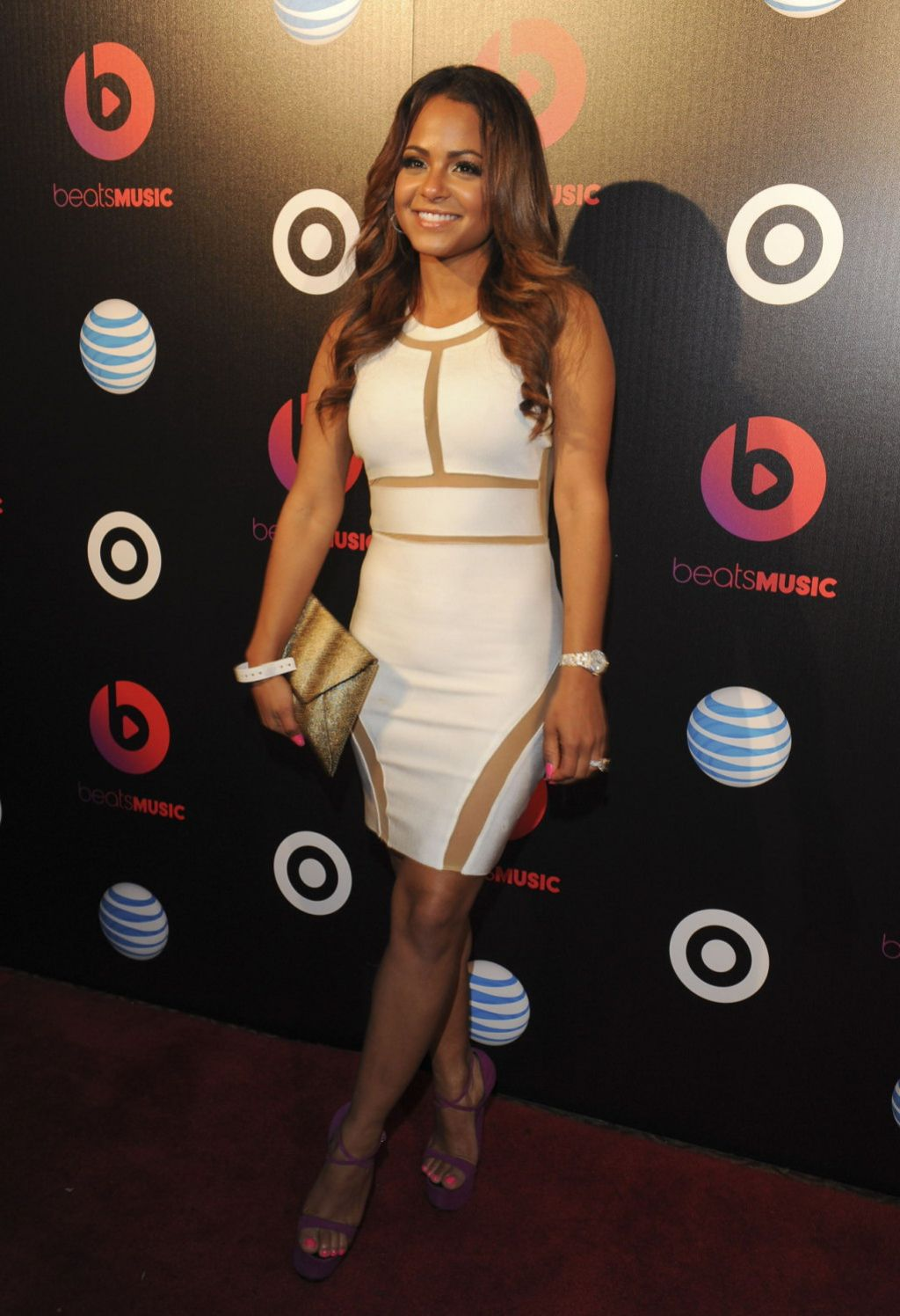 christina milian in white cut out dress