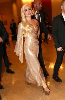 Lady Gaga Wears Perry Meek Bespoke Gold Dress 2014