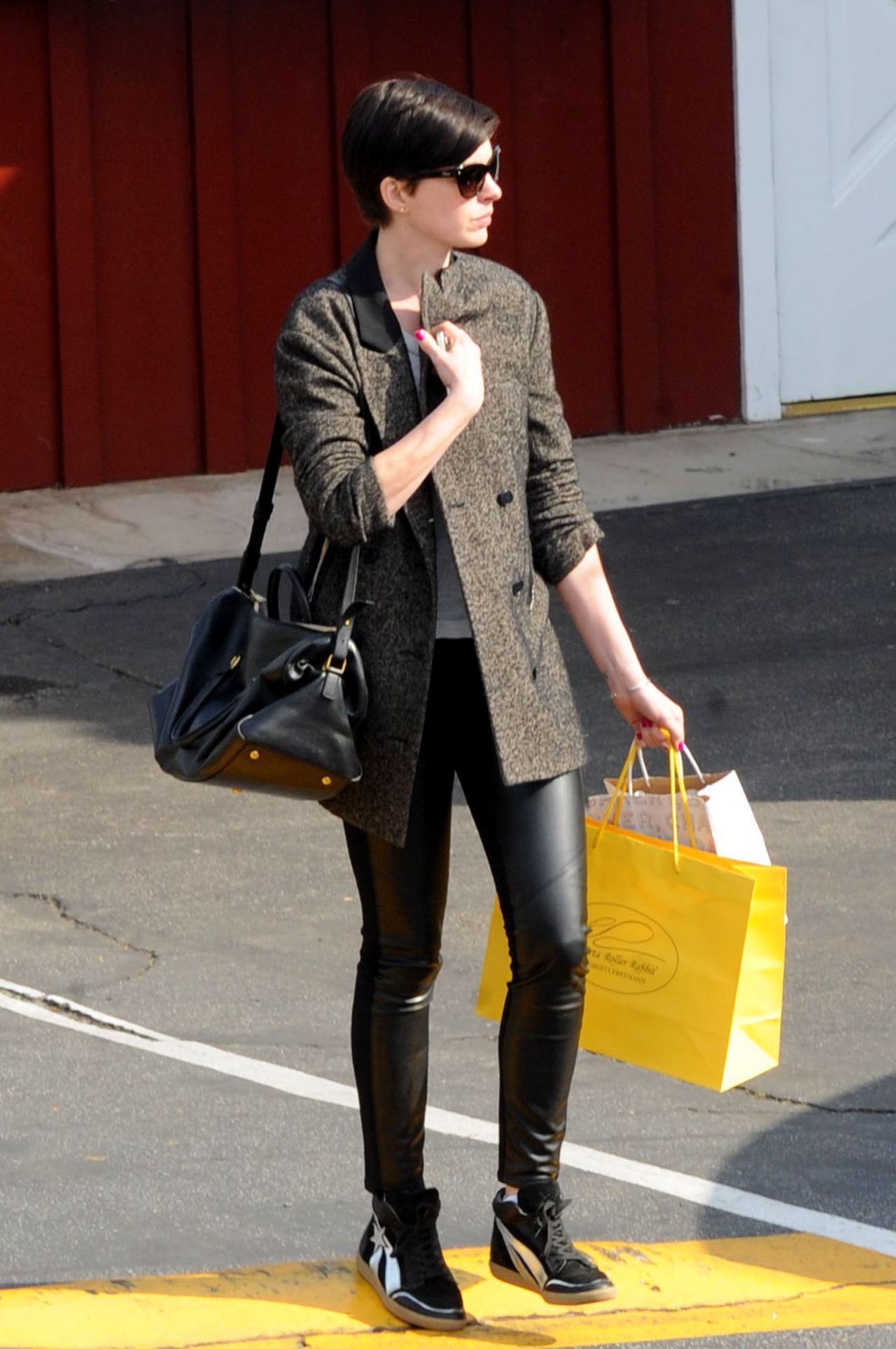 Anne Hathaway Street Style  Brentwood February 2014