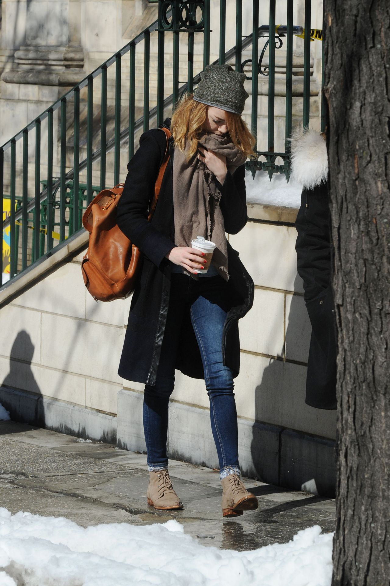 Emma Stone Real New York City Street Style Winter 2014