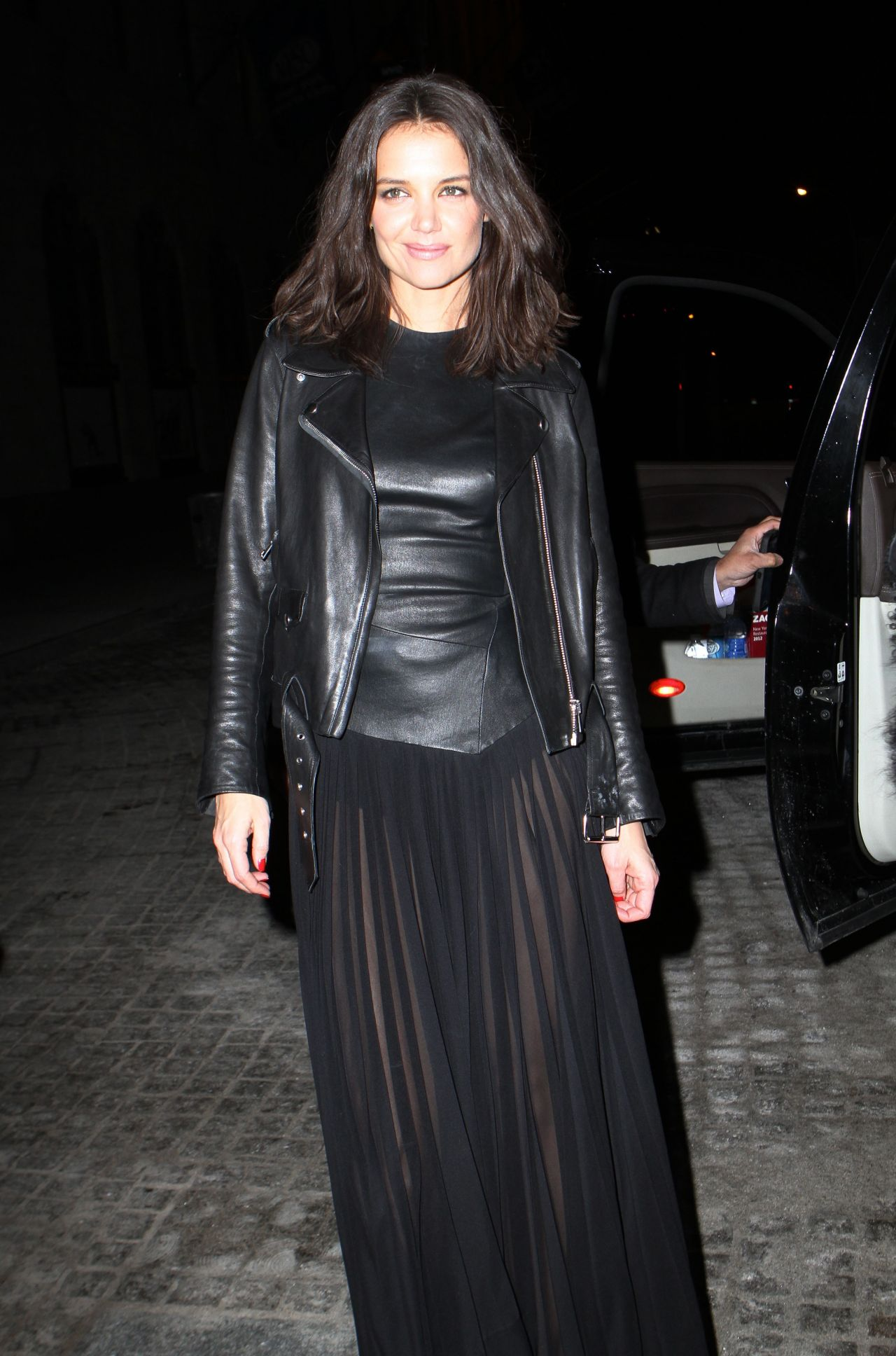 Katie Holmes Leather Outfit at Donna Karan New York 30th Anniversary Fashion Show  February 2014