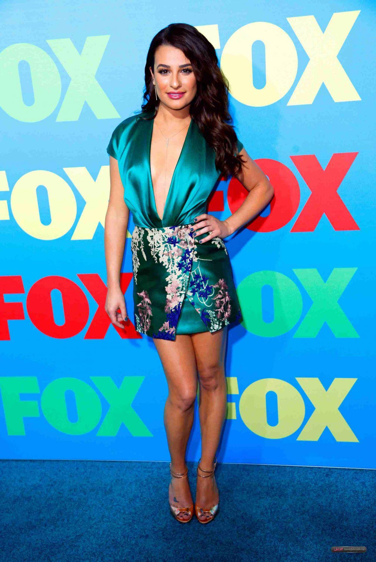 Lea Michele Wearing Blumarine Mini Dress Fox Upfronts 2014
