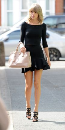 Taylor Swift In Black Mini Dress - Leaving Ham Yard