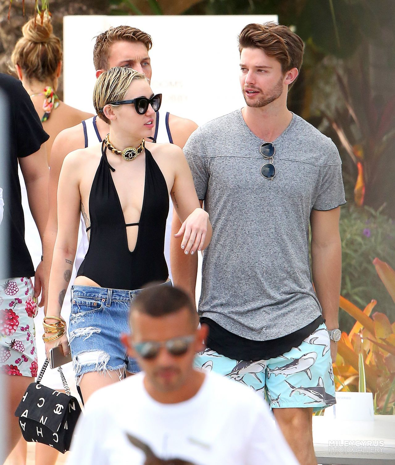 Miley Cyrus at a pool in Miami With Her Boyfriend